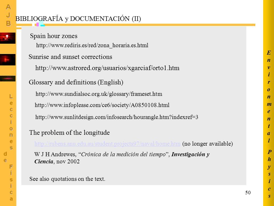 BIBLIOGRAFÍA y DOCUMENTACIÓN (II)