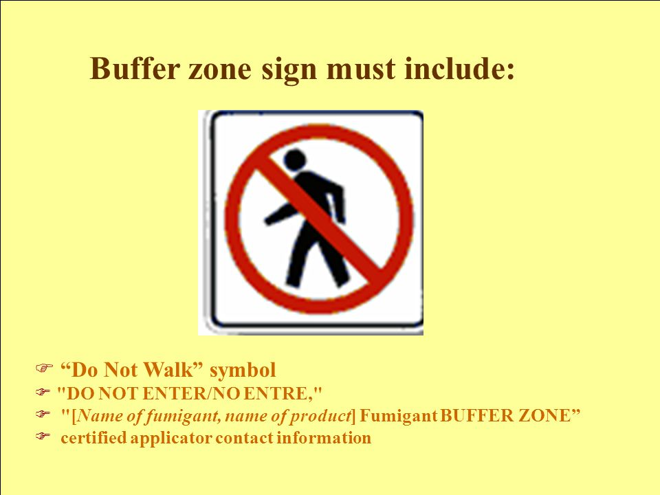 Buffer zone sign must include: