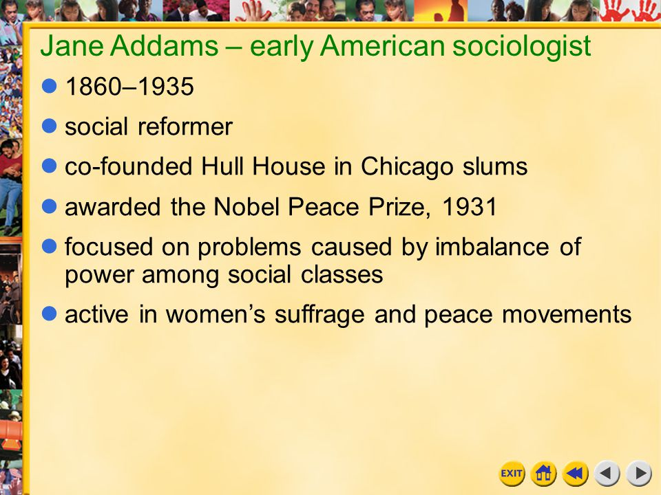 Jane Addams – early American sociologist