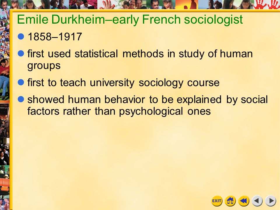 Emile Durkheim–early French sociologist