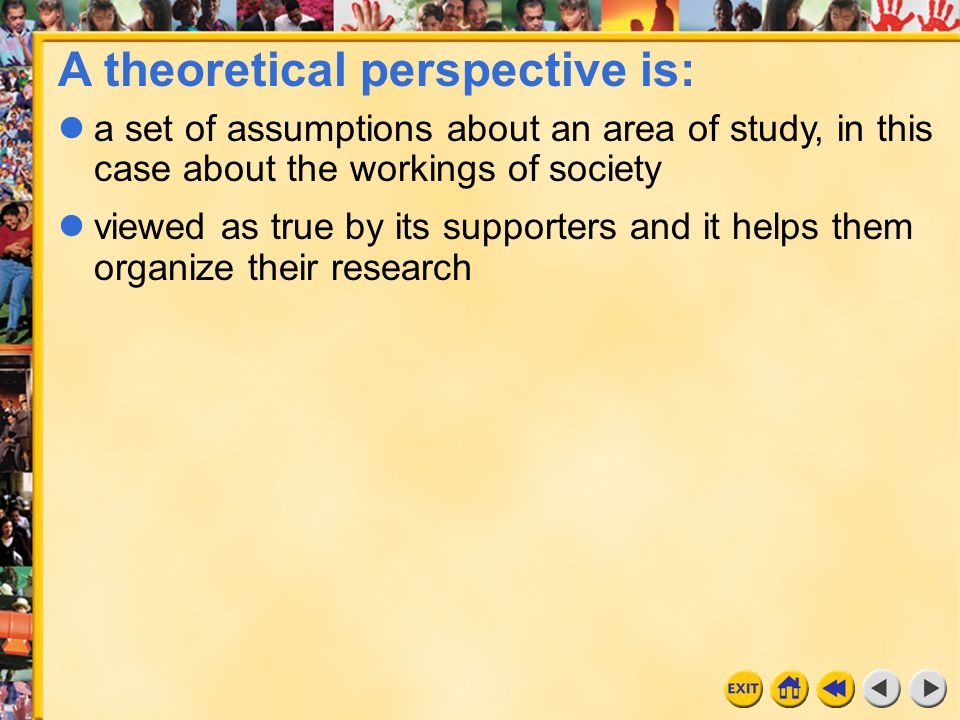 A theoretical perspective is:
