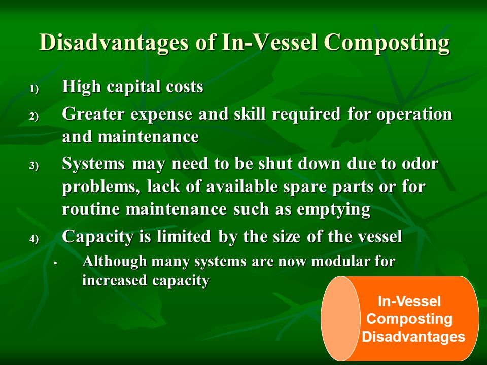 Disadvantages of In-Vessel Composting