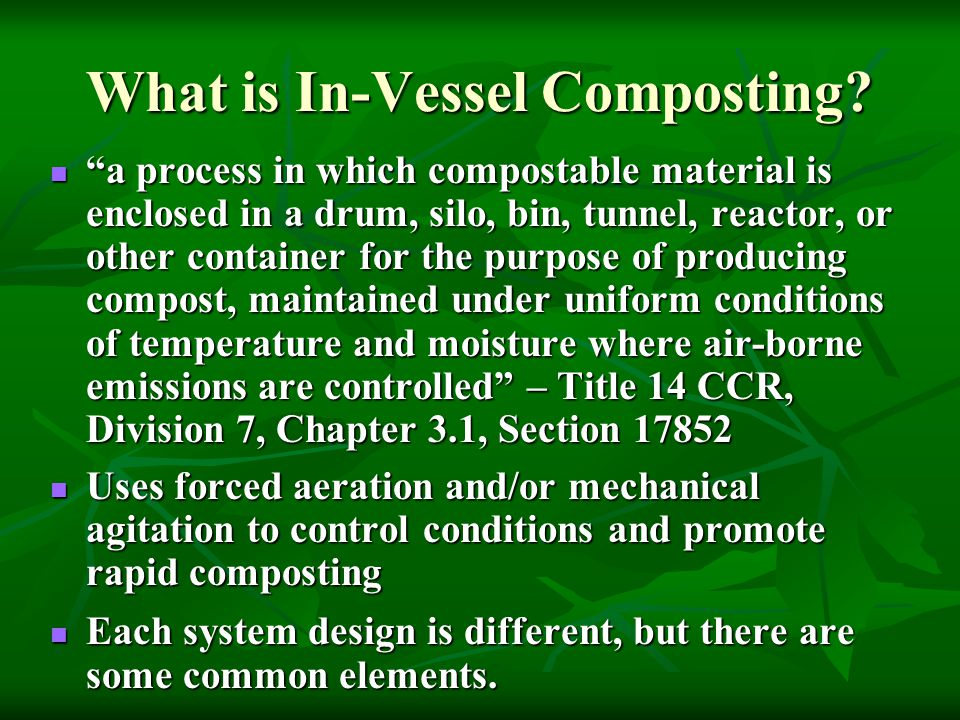 What is In-Vessel Composting