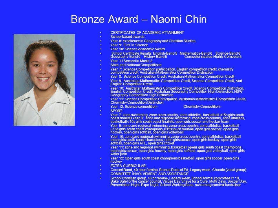 Bronze Award – Naomi Chin