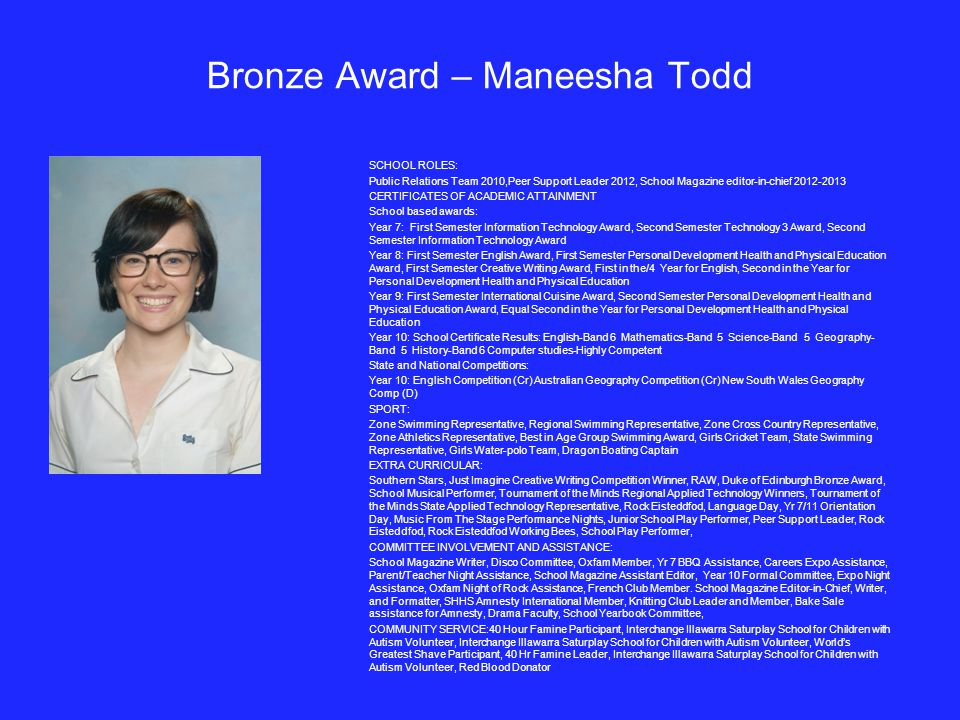 Bronze Award – Maneesha Todd