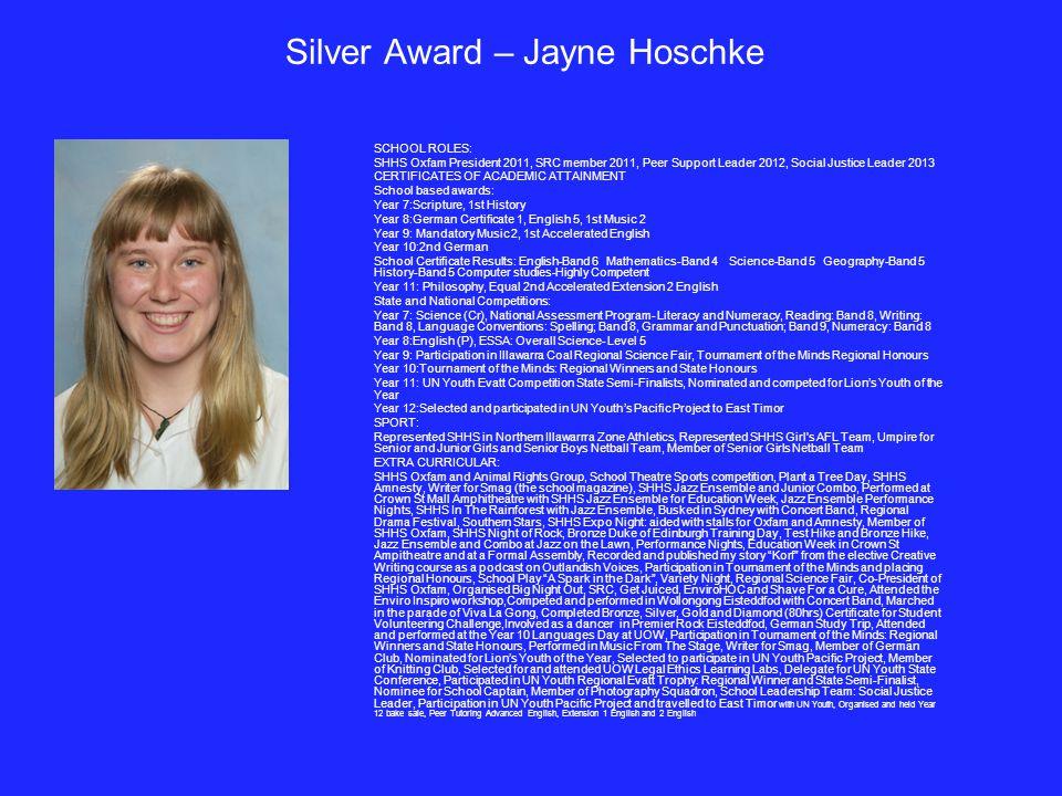 Silver Award – Jayne Hoschke