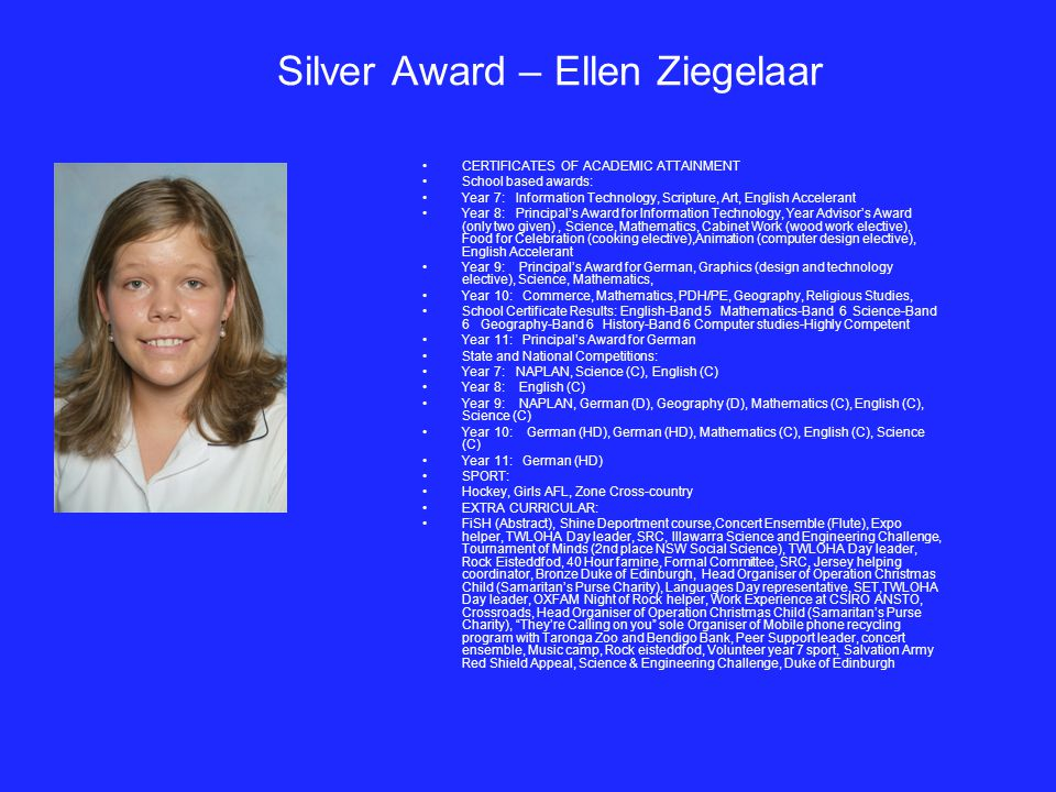 Silver Award – Ellen Ziegelaar