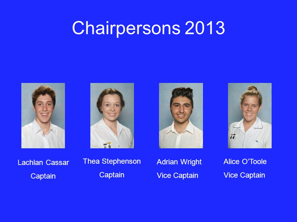 Chairpersons 2013 Adrian Wright Vice Captain Alice O'Toole