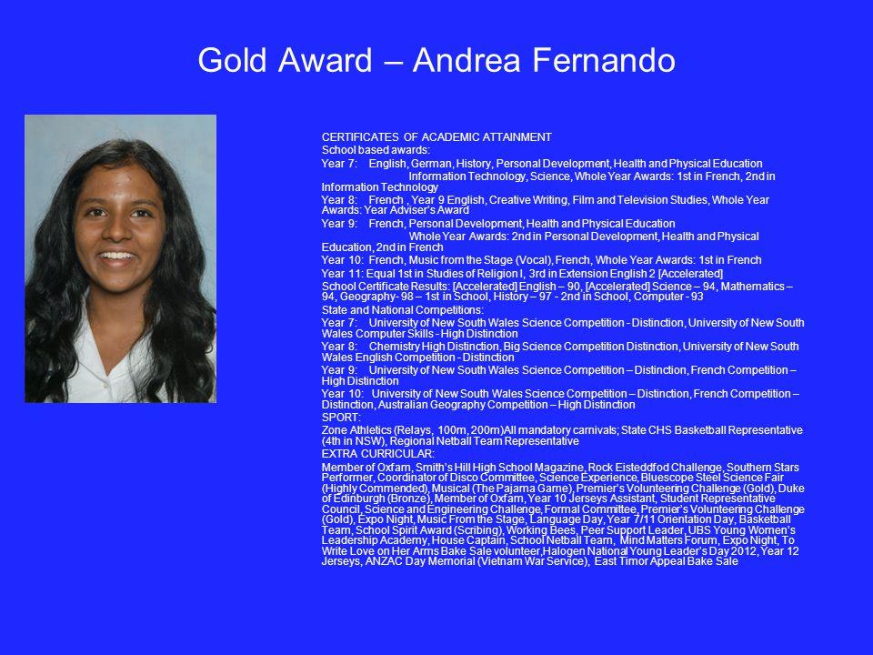 Gold Award – Andrea Fernando
