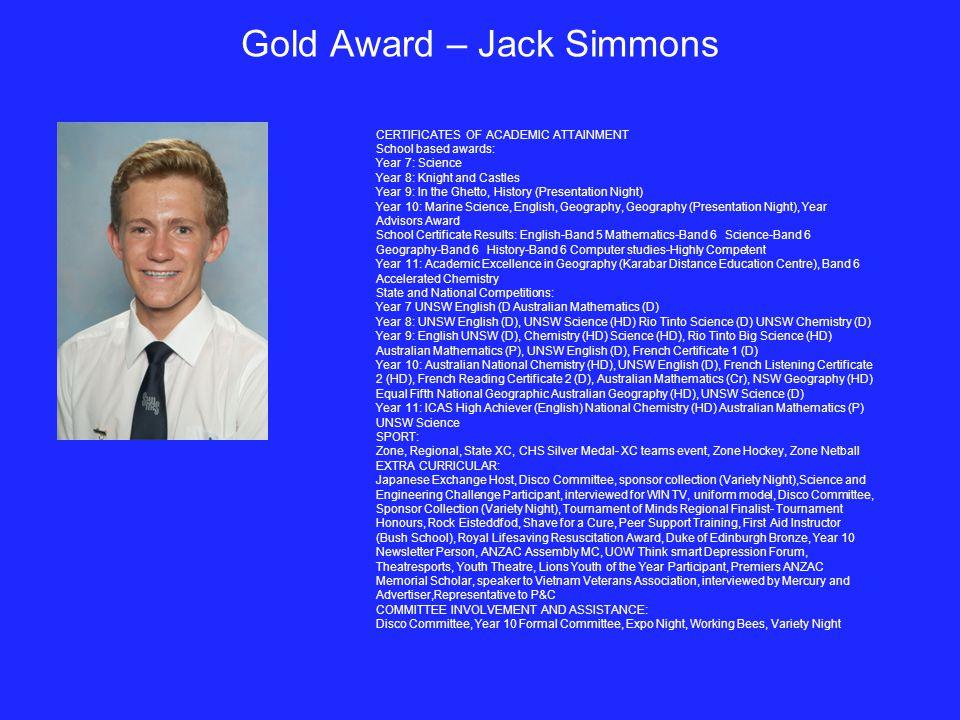 Gold Award – Jack Simmons