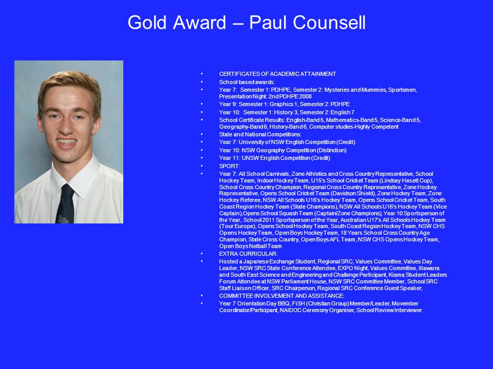 Gold Award – Paul Counsell