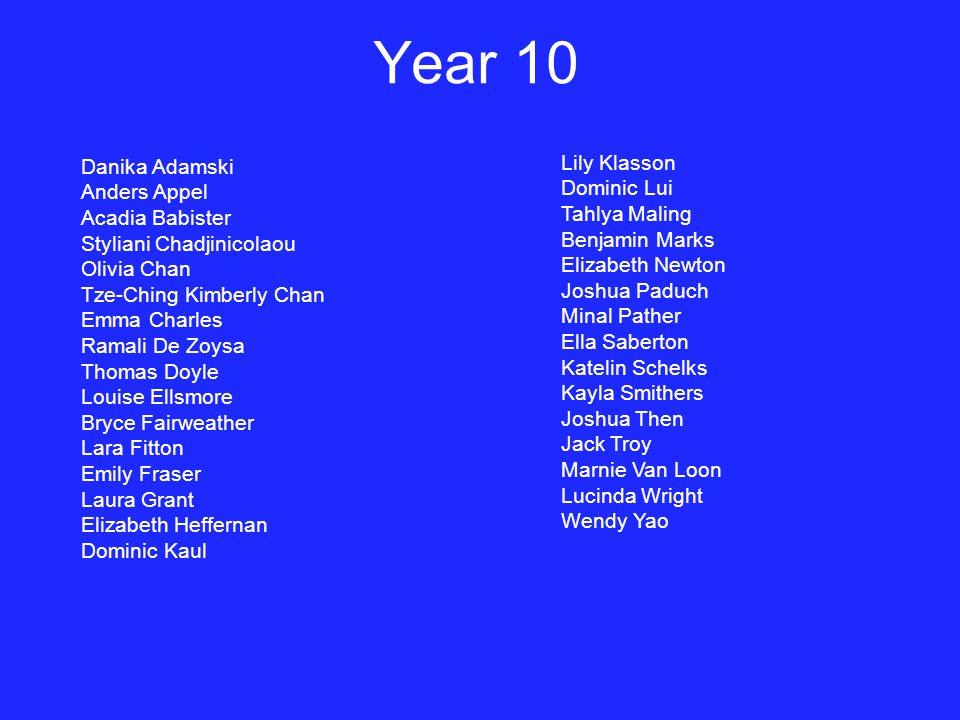 Year 10 Lily Klasson Danika Adamski Dominic Lui Anders Appel