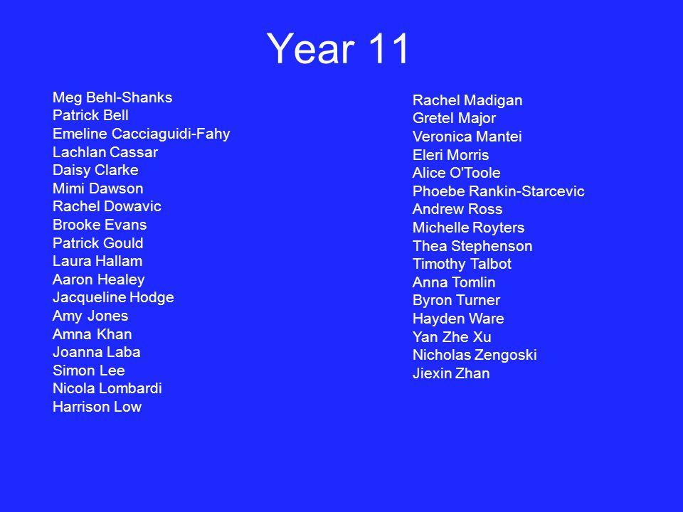 Year 11 Meg Behl-Shanks Rachel Madigan Patrick Bell Gretel Major