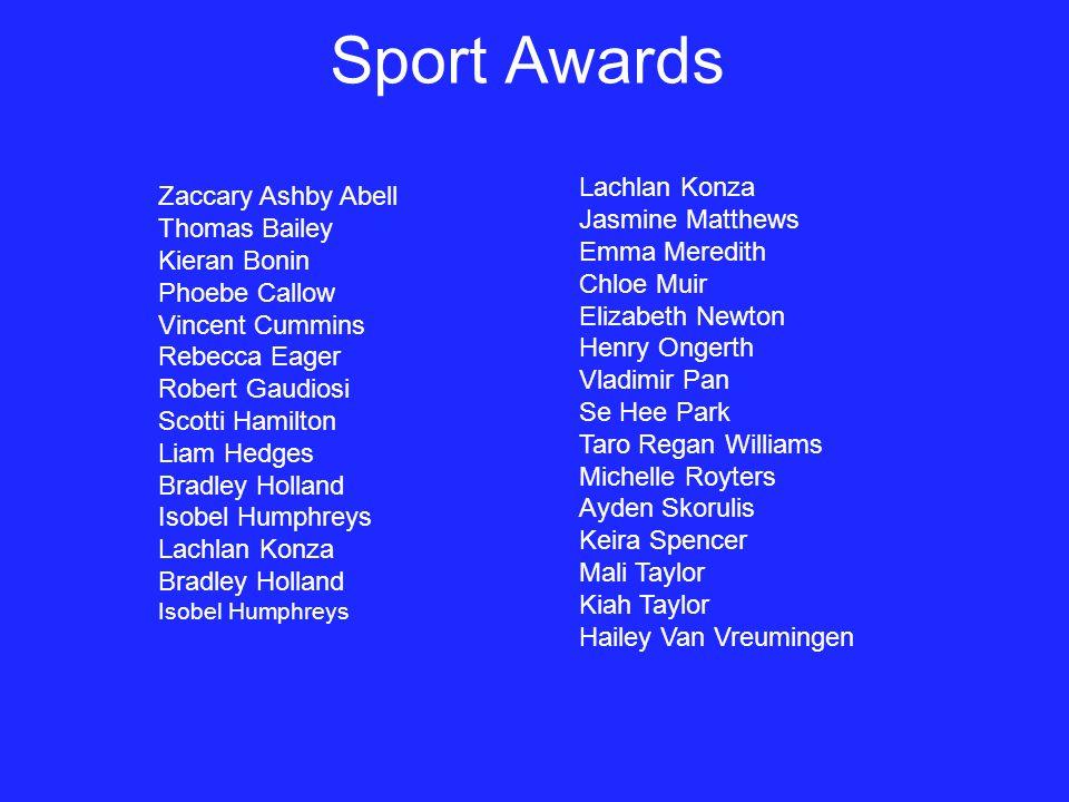 Sport Awards Lachlan Konza Zaccary Ashby Abell Jasmine Matthews