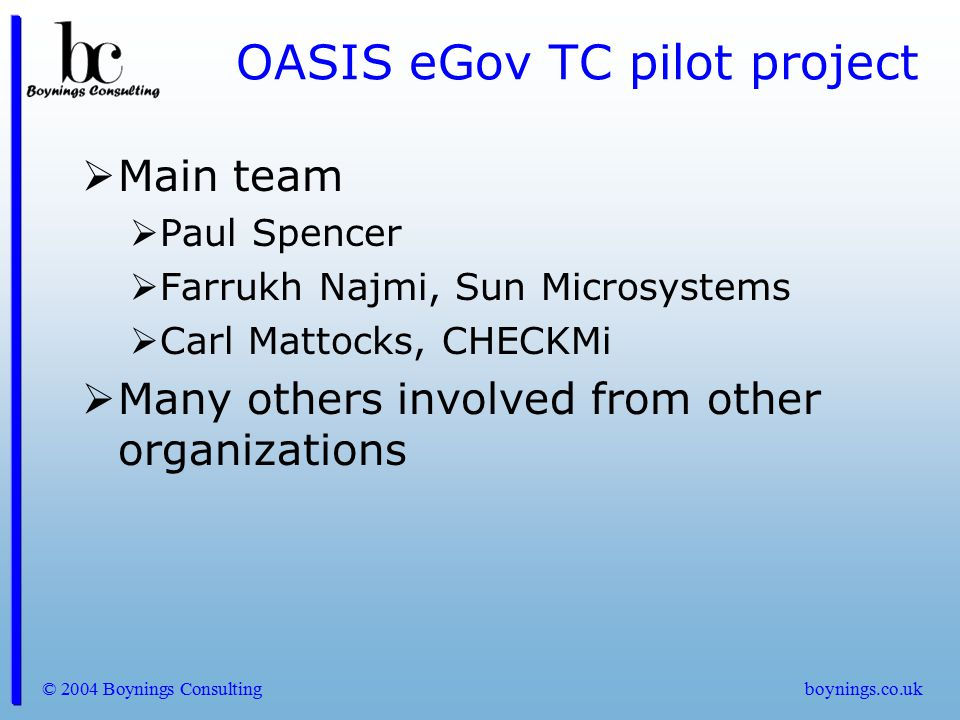 OASIS eGov TC pilot project