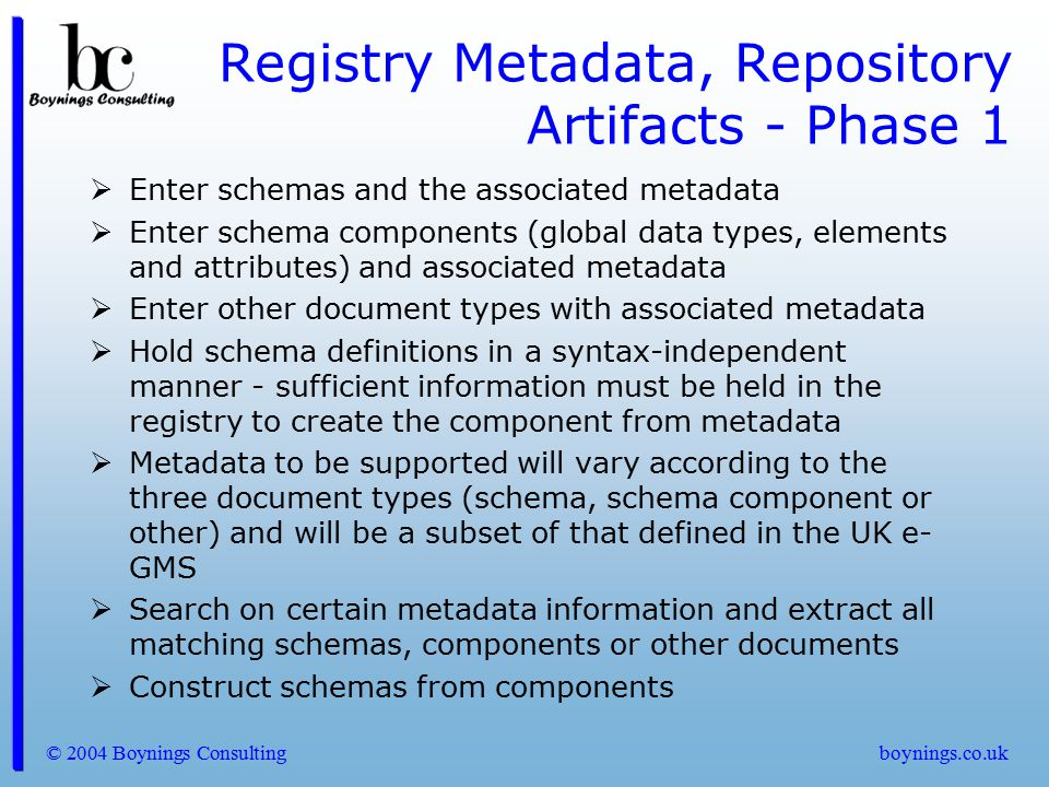 Registry Metadata, Repository Artifacts - Phase 1
