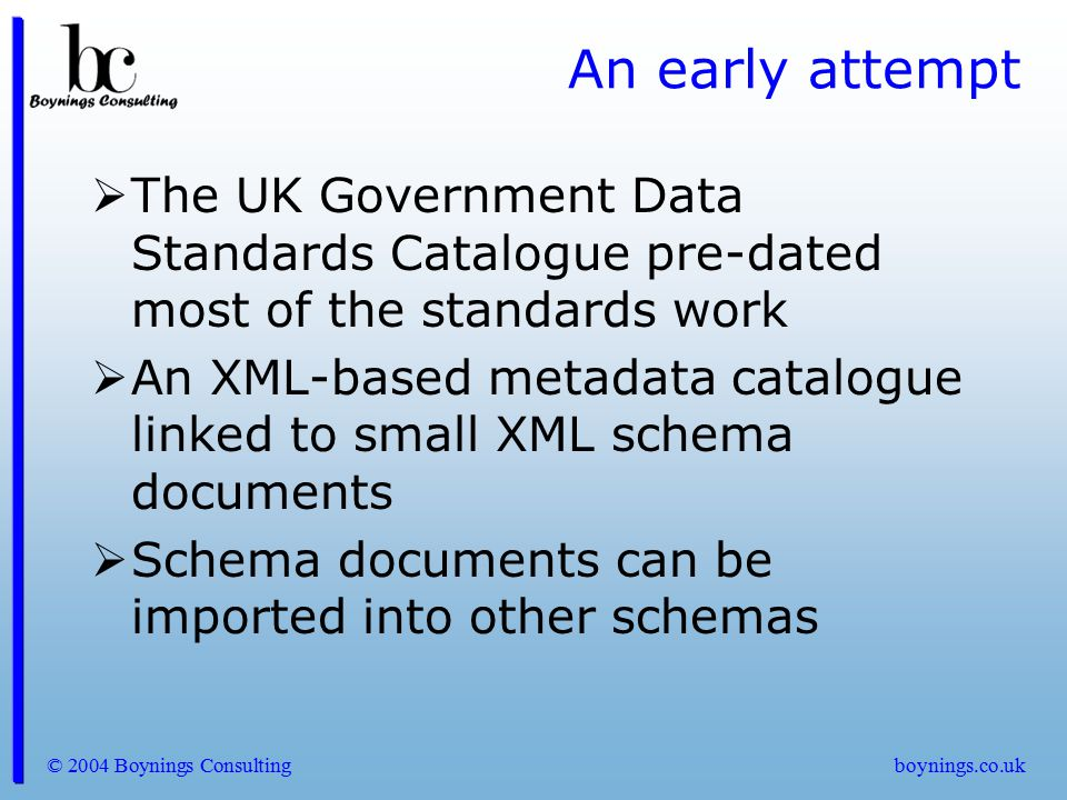 An early attempt The UK Government Data Standards Catalogue pre-dated most of the standards work.