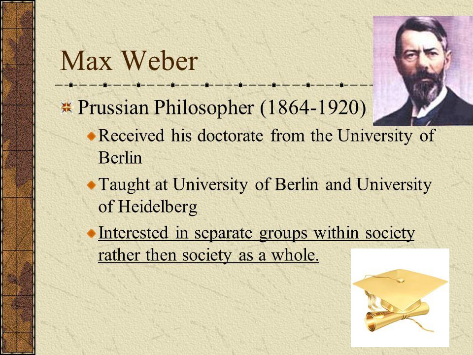 Max Weber Prussian Philosopher (1864-1920)