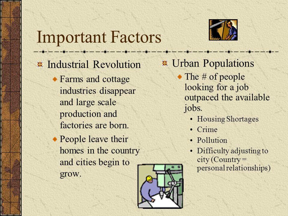 Important Factors Industrial Revolution Urban Populations