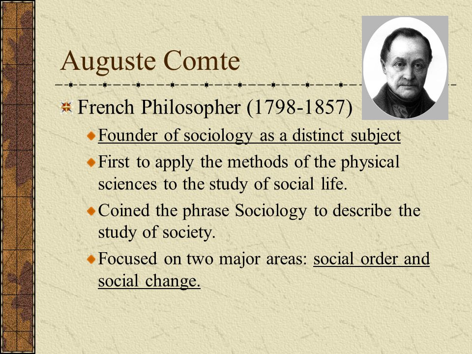 Auguste Comte French Philosopher ( )