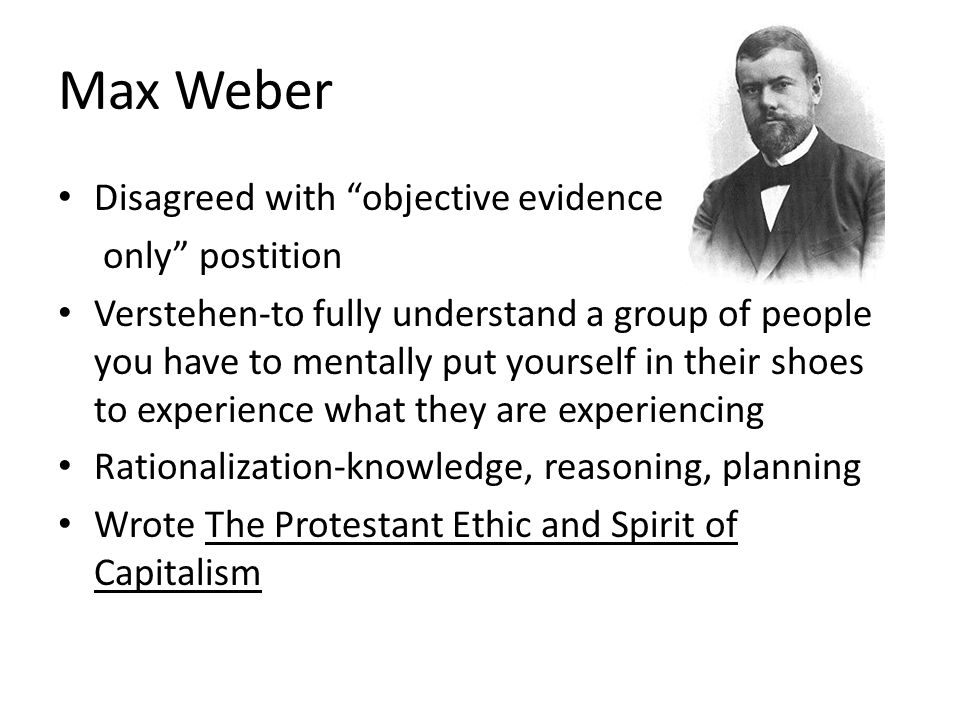 Max Weber Disagreed with objective evidence only postition