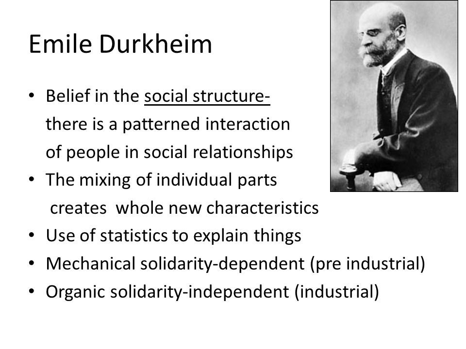 Emile Durkheim Belief in the social structure-
