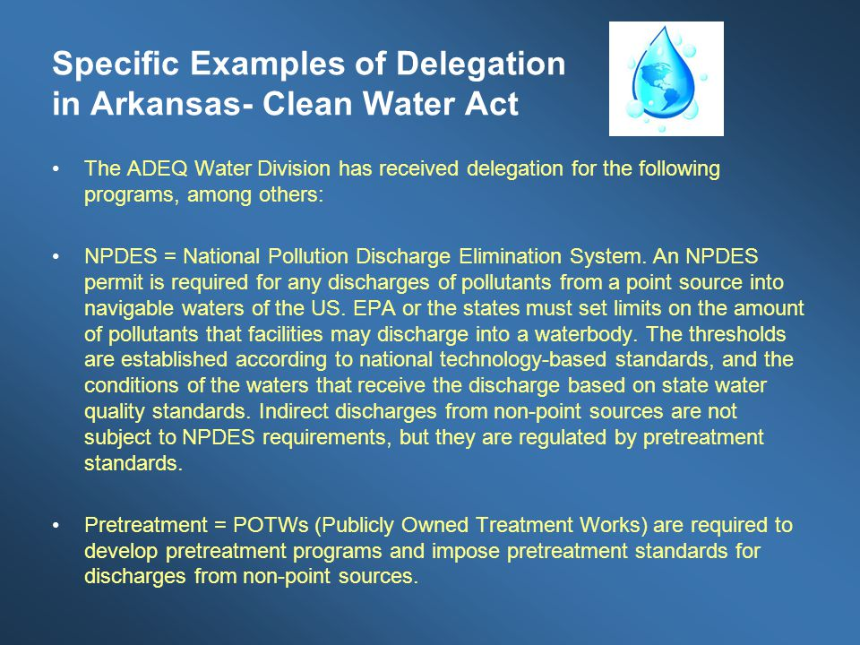 Specific Examples of Delegation in Arkansas- Clean Water Act