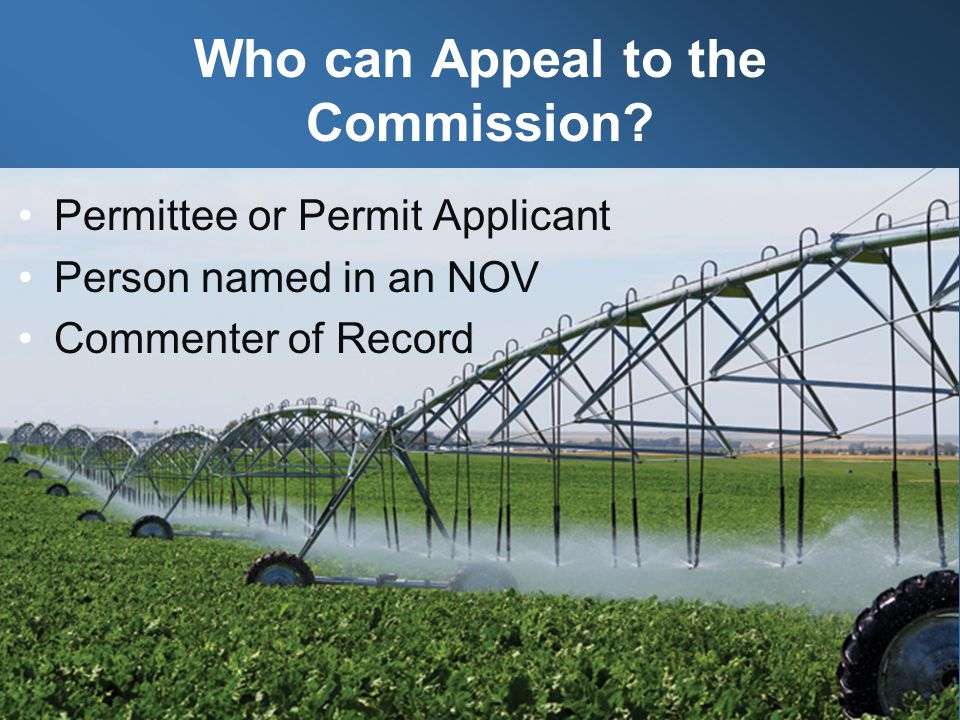 Who can Appeal to the Commission