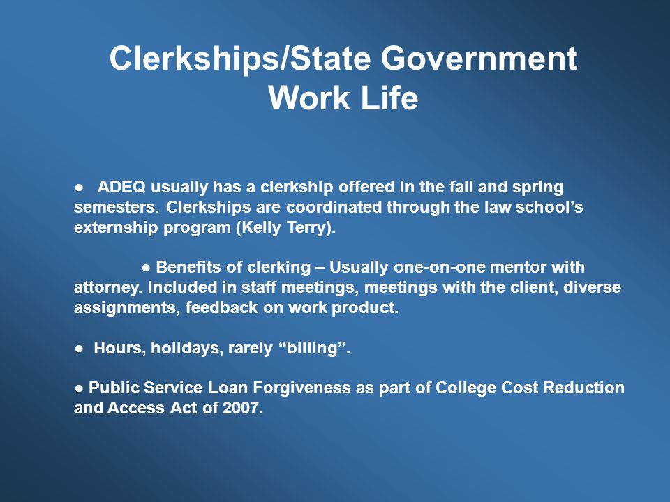 Clerkships/State Government