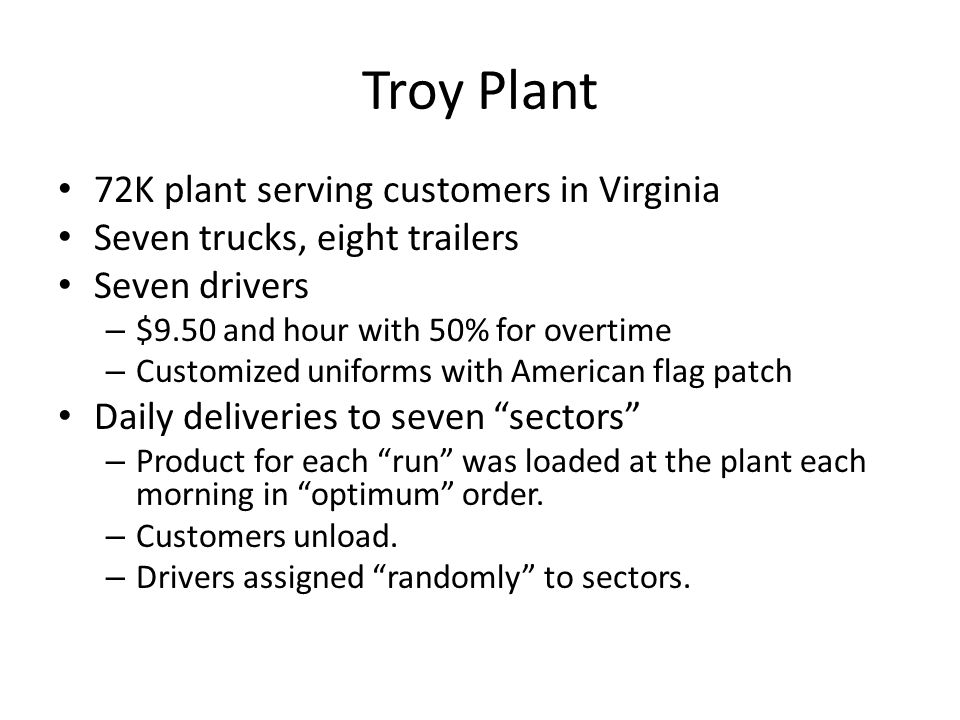 Troy Plant 72K plant serving customers in Virginia
