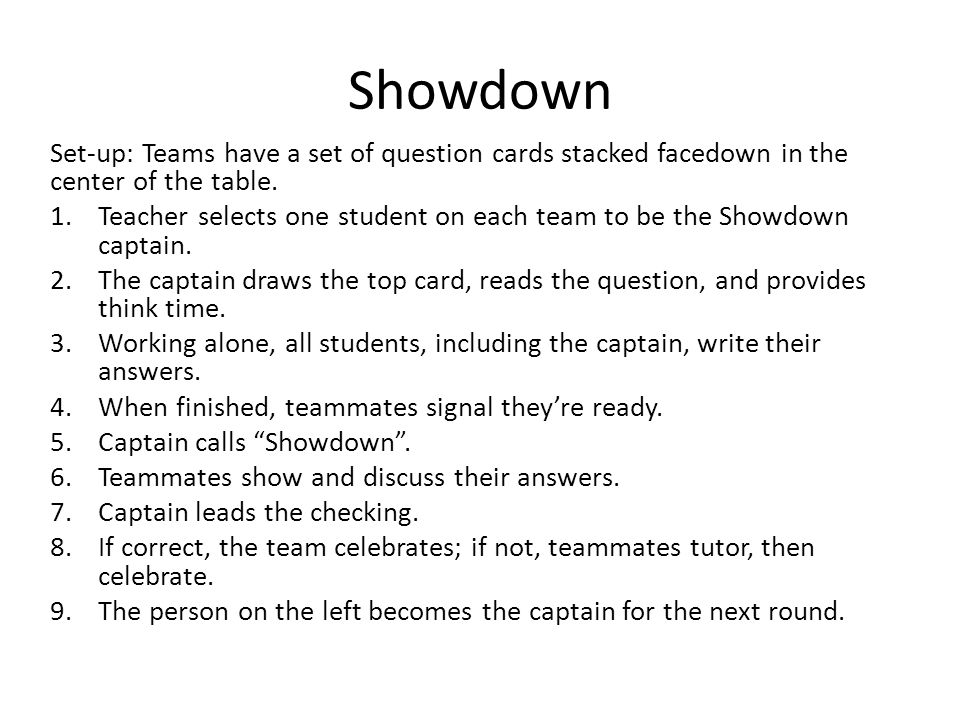 Showdown Set-up: Teams have a set of question cards stacked facedown in the center of the table.