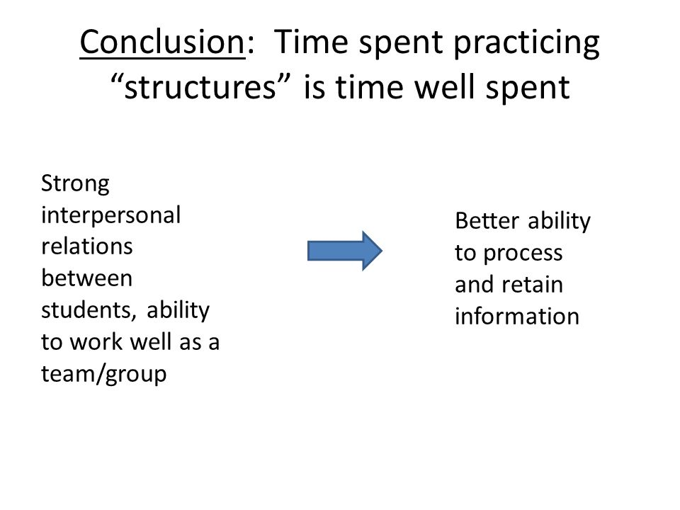 Conclusion: Time spent practicing structures is time well spent