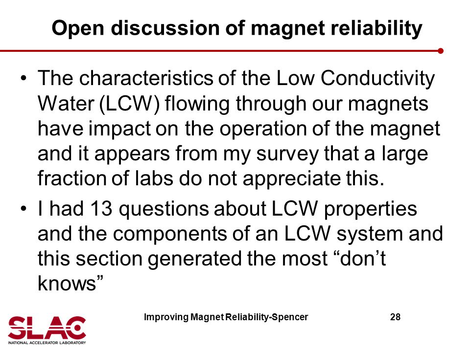 Open discussion of magnet reliability