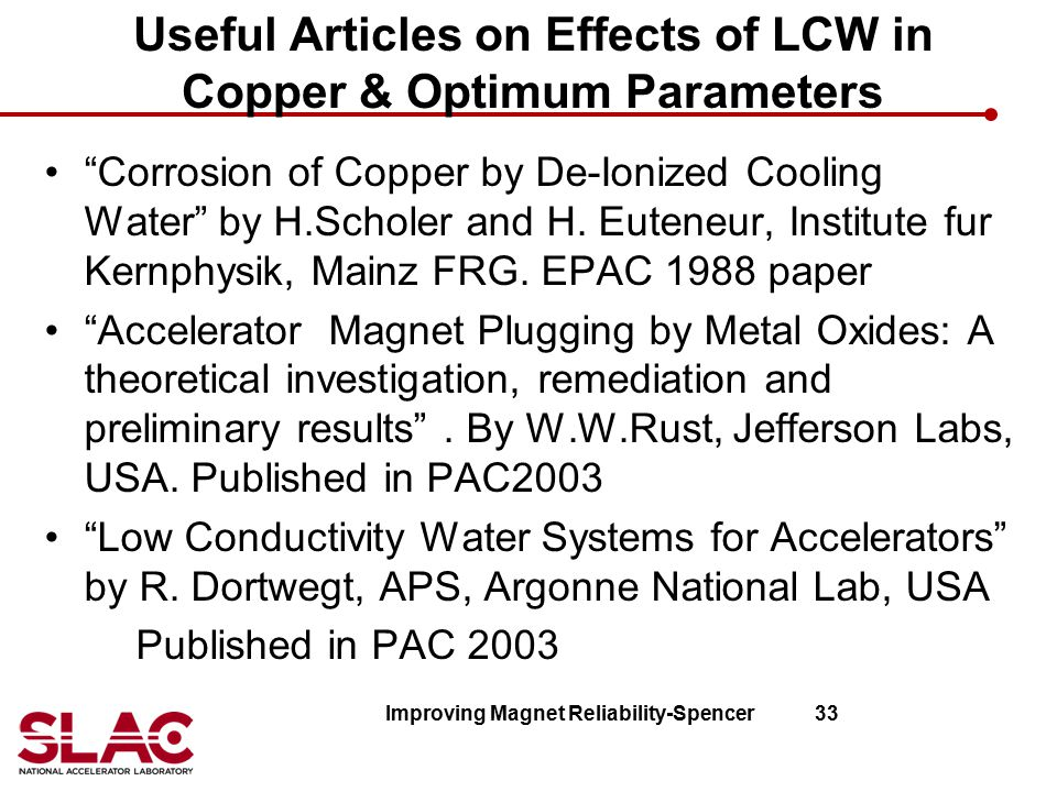 Useful Articles on Effects of LCW in Copper & Optimum Parameters