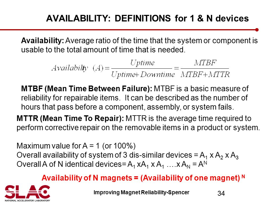 AVAILABILITY: DEFINITIONS for 1 & N devices