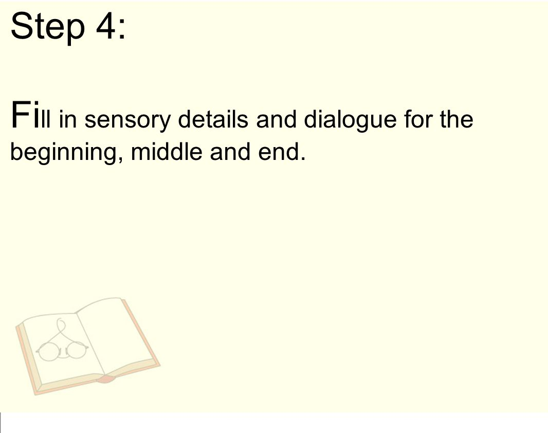 Step 4: Fill in sensory details and dialogue for the beginning, middle and end.