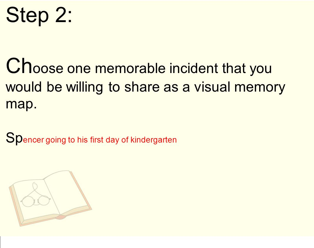 Step 2: Choose one memorable incident that you would be willing to share as a visual memory map.