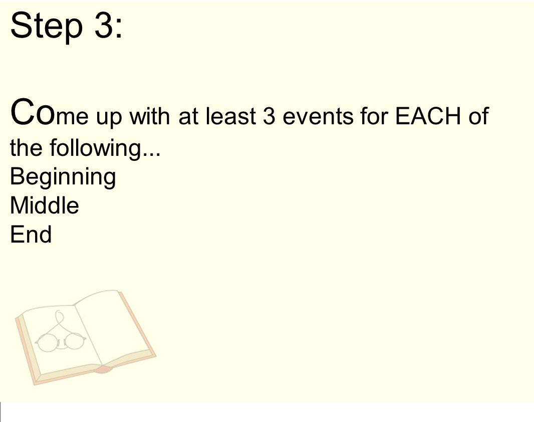 Come up with at least 3 events for EACH of the following...