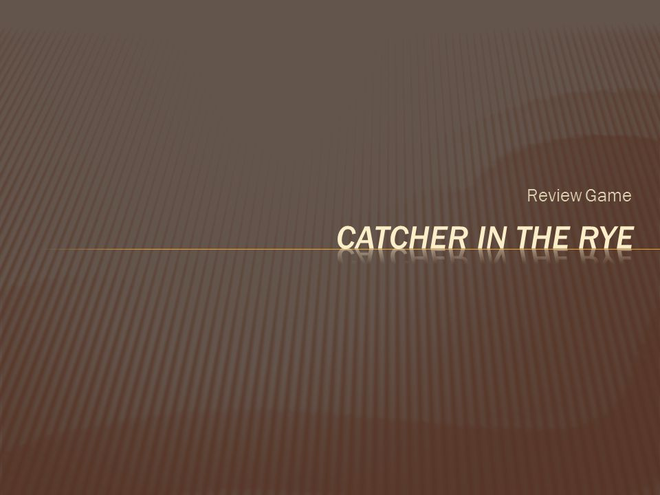 Review Game Catcher in the Rye
