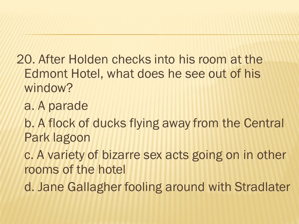 20. After Holden checks into his room at the Edmont Hotel, what does he see out of his window.