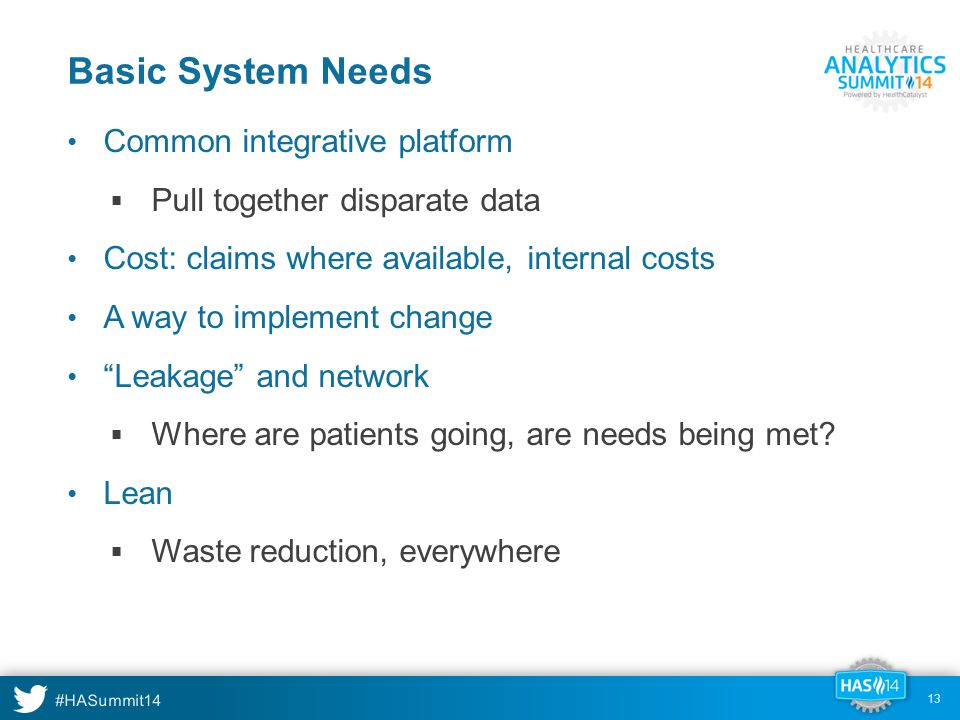 Basic System Needs Common integrative platform