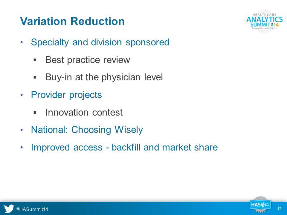 Variation Reduction Specialty and division sponsored
