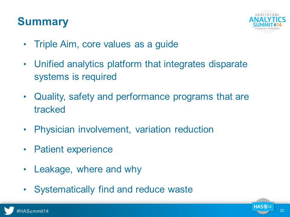 Summary Triple Aim, core values as a guide