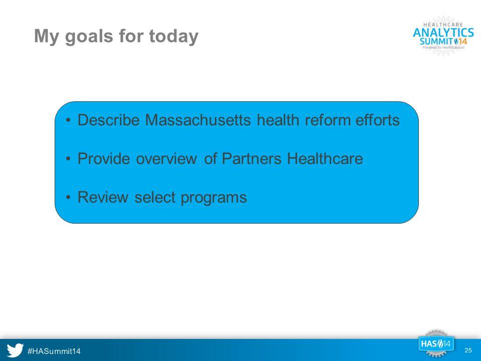 My goals for today Describe Massachusetts health reform efforts
