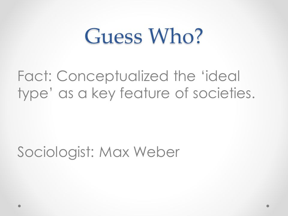 Guess Who. Fact: Conceptualized the 'ideal type' as a key feature of societies.