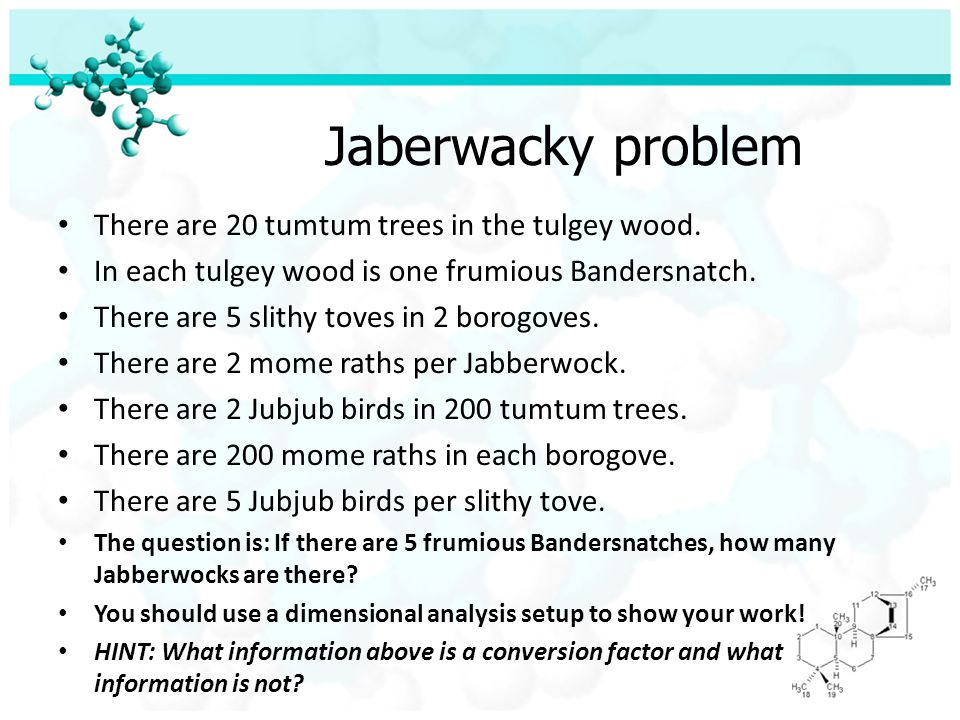 Jaberwacky problem There are 20 tumtum trees in the tulgey wood.