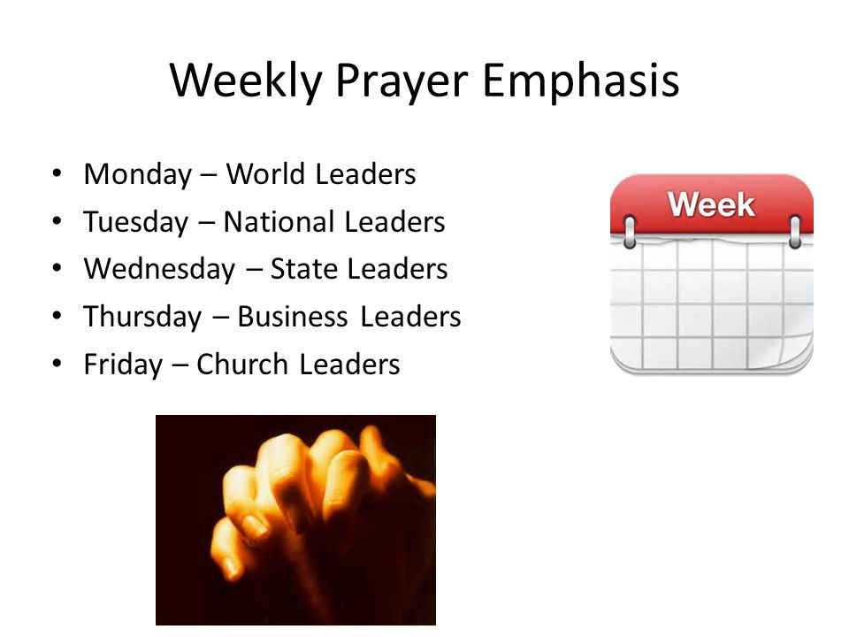 Weekly Prayer Emphasis