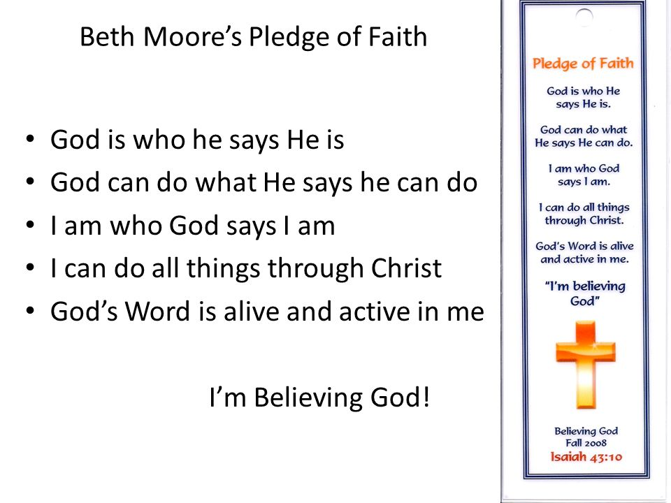 Beth Moore's Pledge of Faith