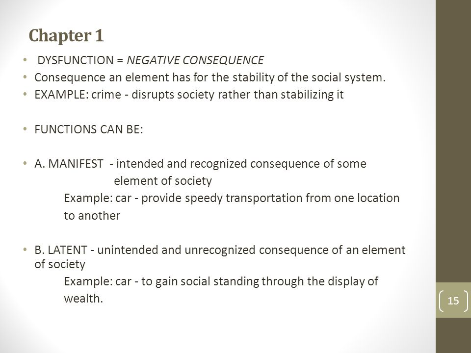 Chapter 1 DYSFUNCTION = NEGATIVE CONSEQUENCE