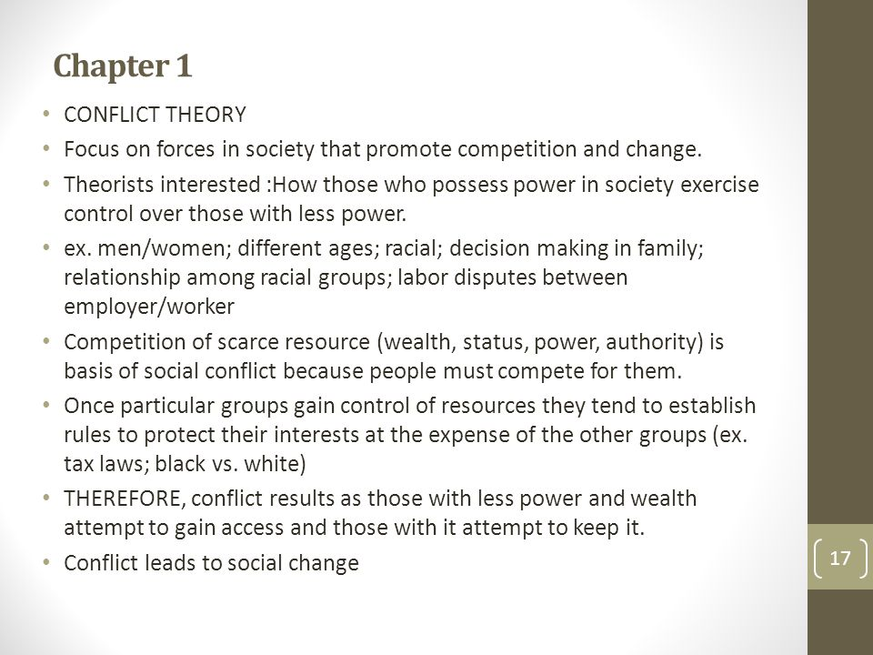 Chapter 1 CONFLICT THEORY